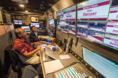 Inside the ESPN production vehicle.