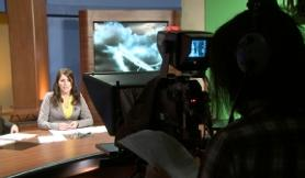 Students on air during news broadcast
