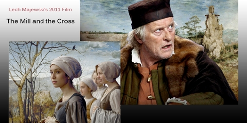 Two images from the film The Mill and The Cross