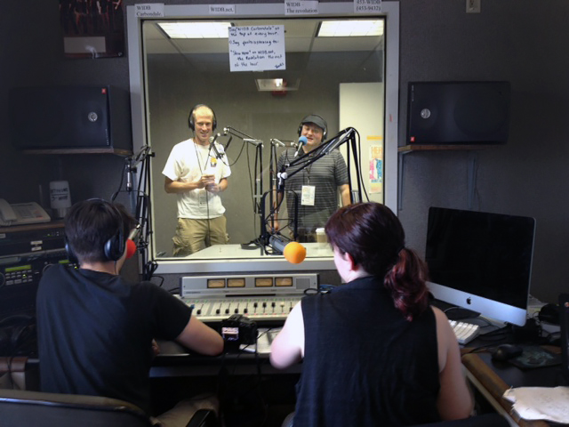 Inside the WSIU FM studio with several MCMA Alums